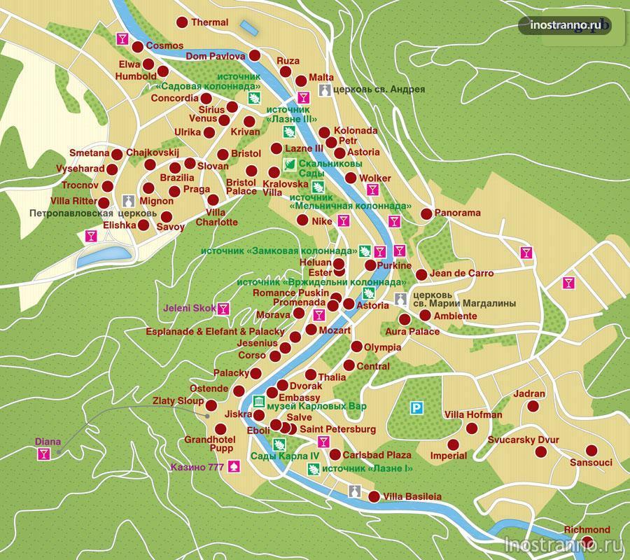 карловы вары карта на русском языке