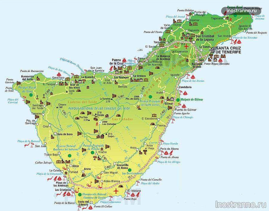 карта тенерифе с достопримечательностями