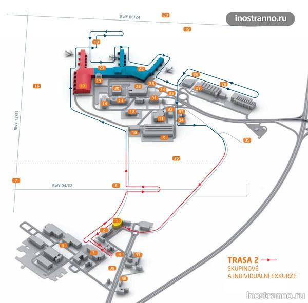 трасса экскурсии аэропорт в Праге