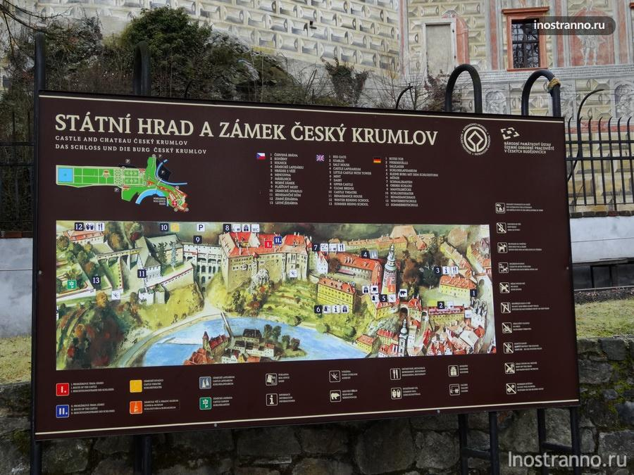 Замковые сады Крумлов и карта