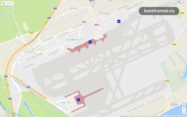 Карта аэропорта Барселоны Эль-Прат