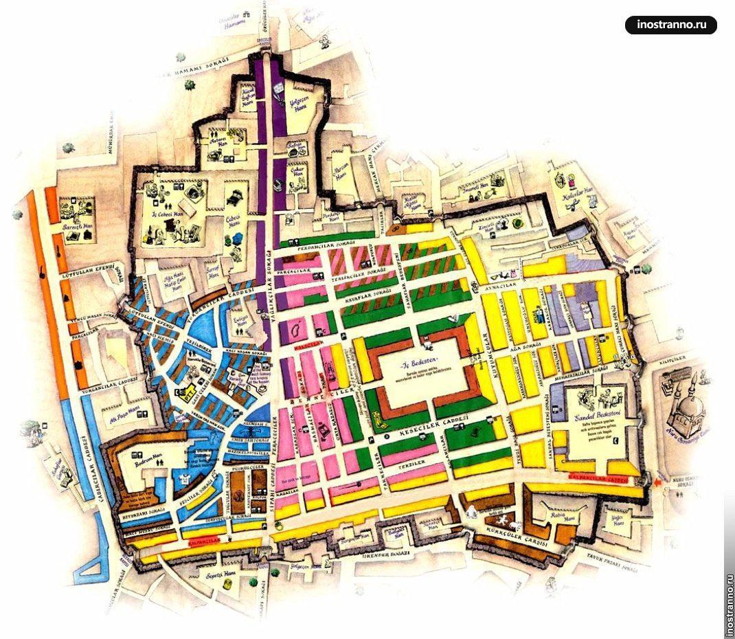 карта гранд базара в стамбуле