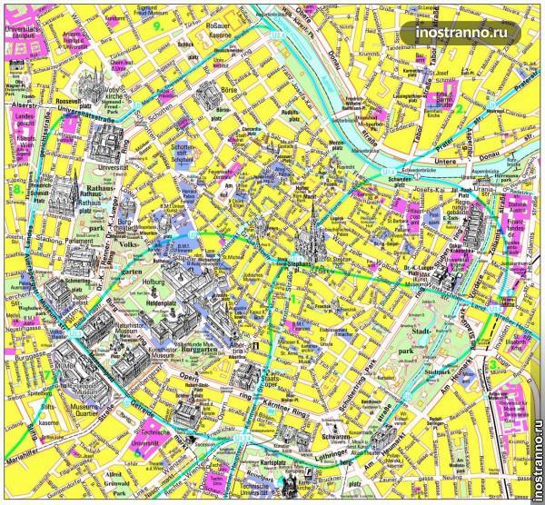 Карта Вены с достопримечательностями на русском