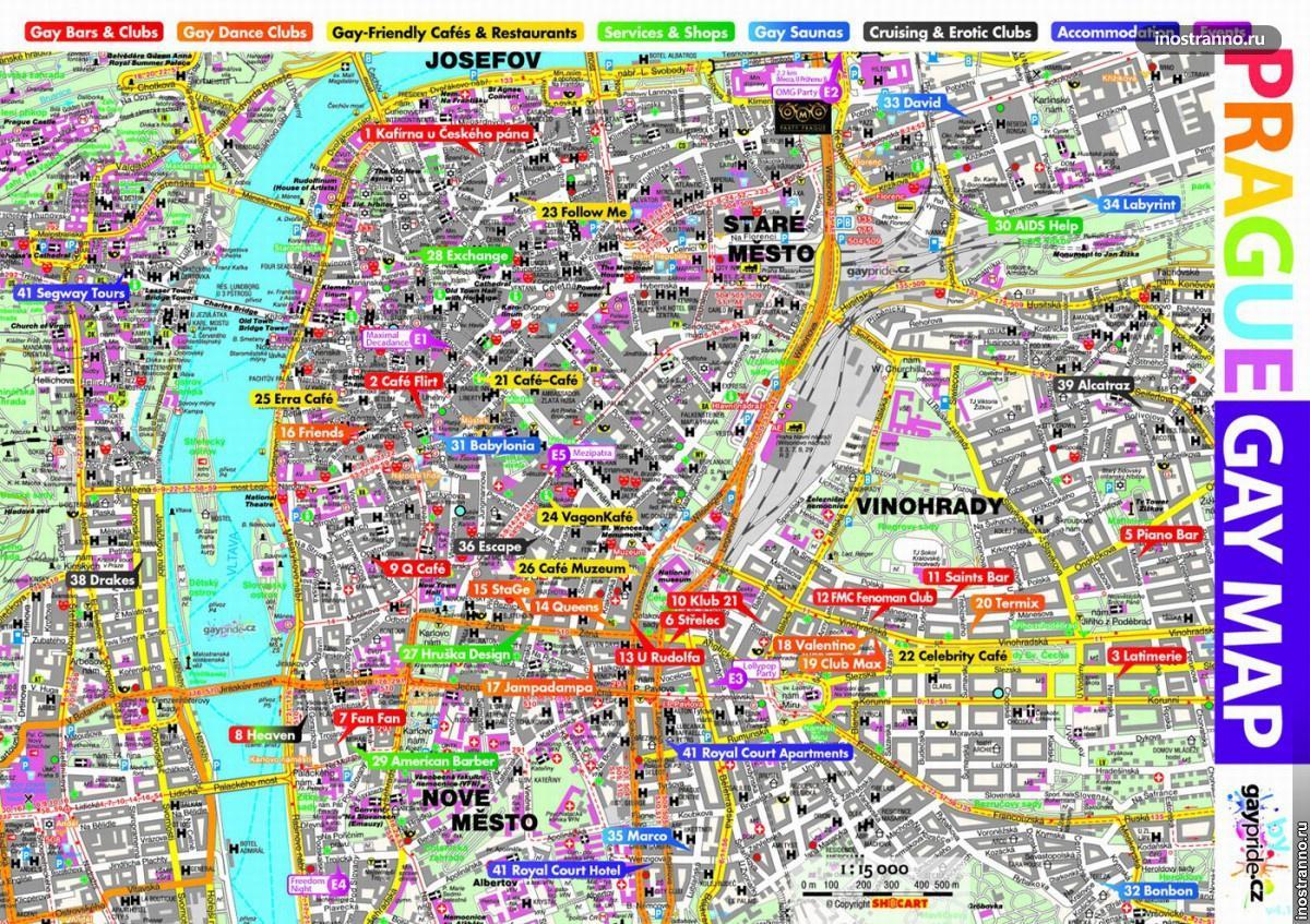 Карта Праги с местами для геев