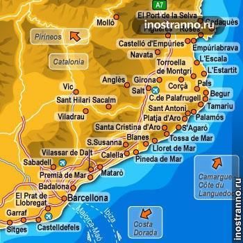карта побережья коста-брава