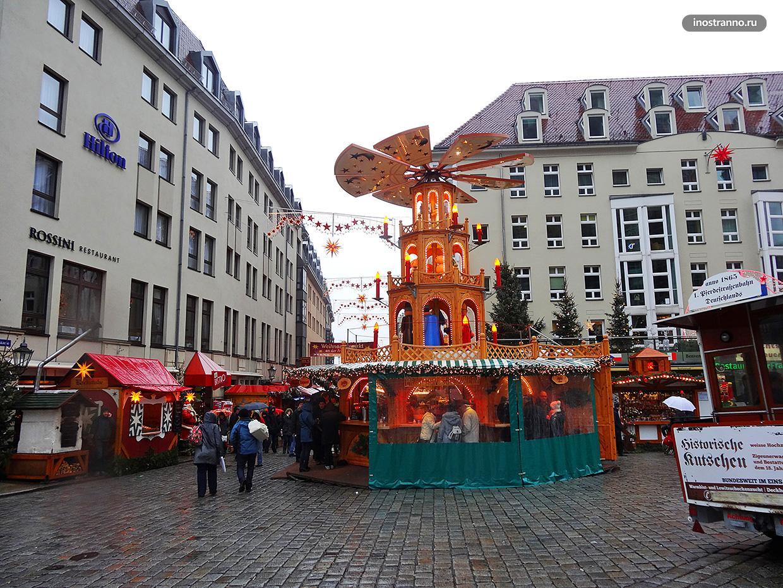Яркое украшение улиц в Дрездене на Новый год