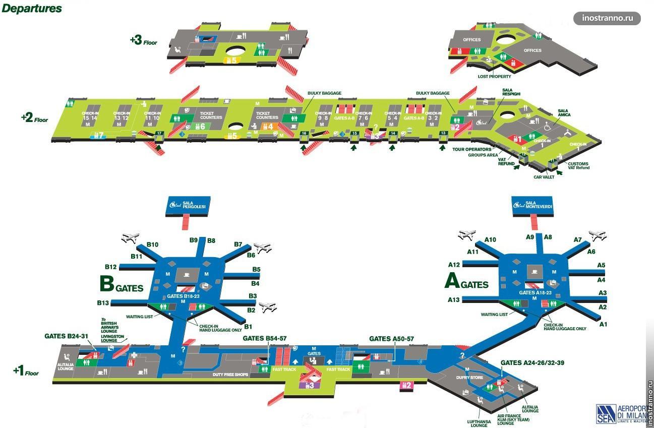 карта аэропорта милана