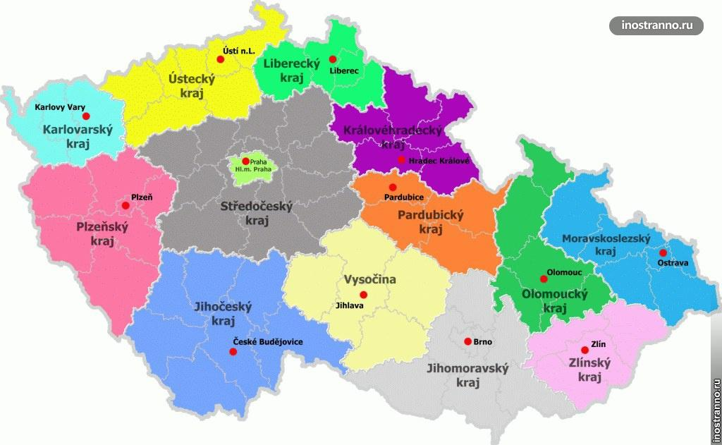 карта регионов чехии