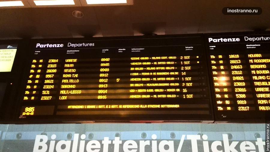 Табло расписания на жд вокзале в Италии