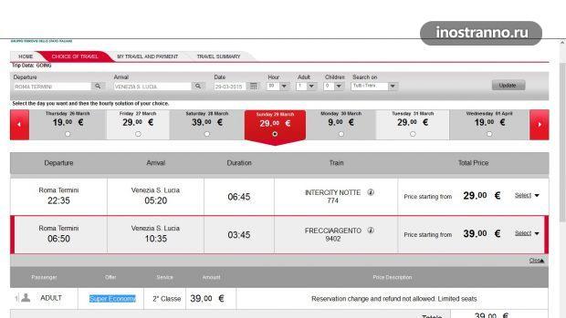 Инструкция по покупке билетов на поезд в италии