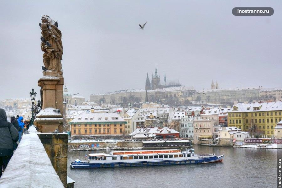 Пражский град зимой в декабре