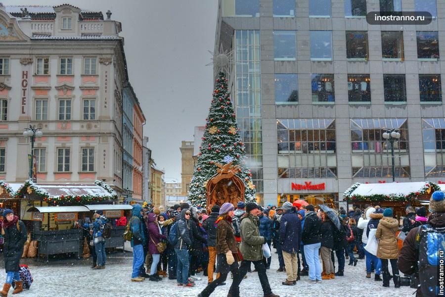 Вацлавская площадь зимой