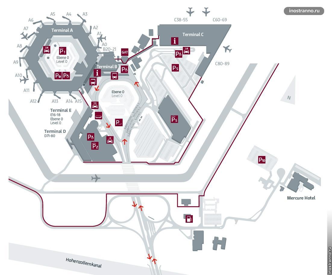 Карта аэропорта Тегель в Берлине