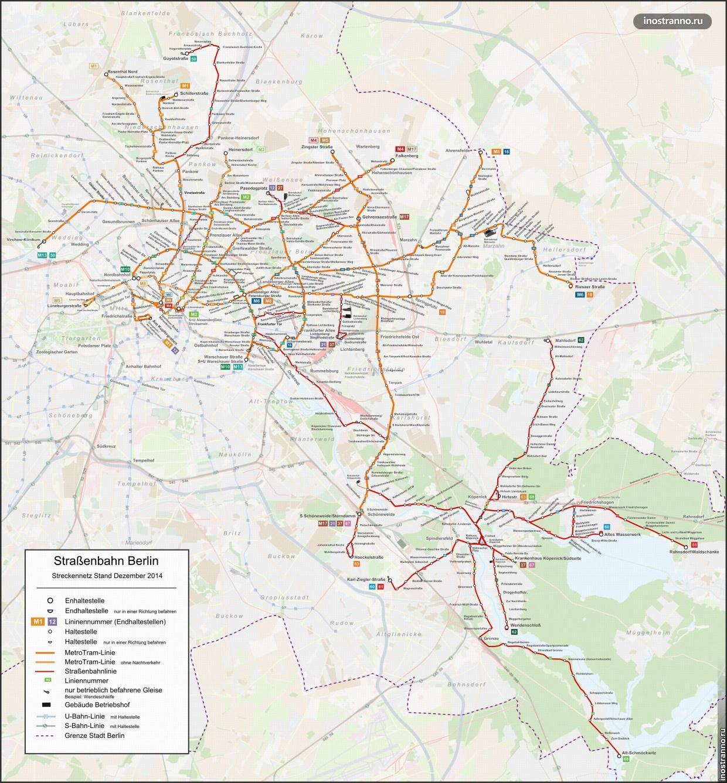Карта трамваев Берлина