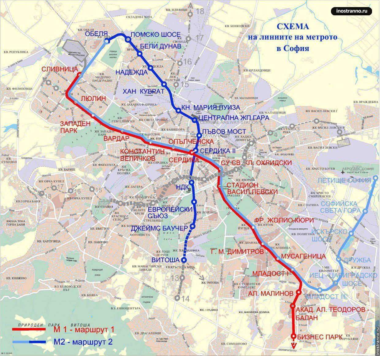 Карта метро Софии