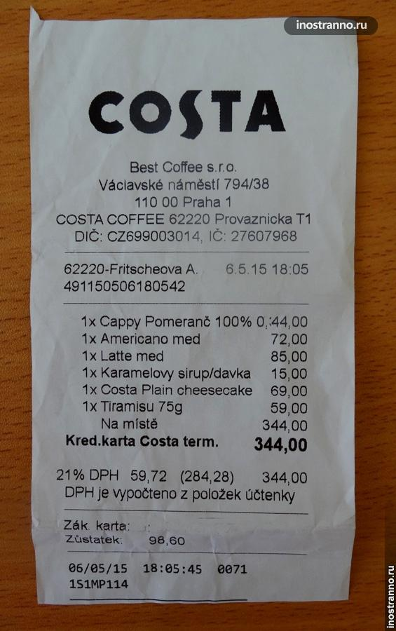 Цены в кафе Праги