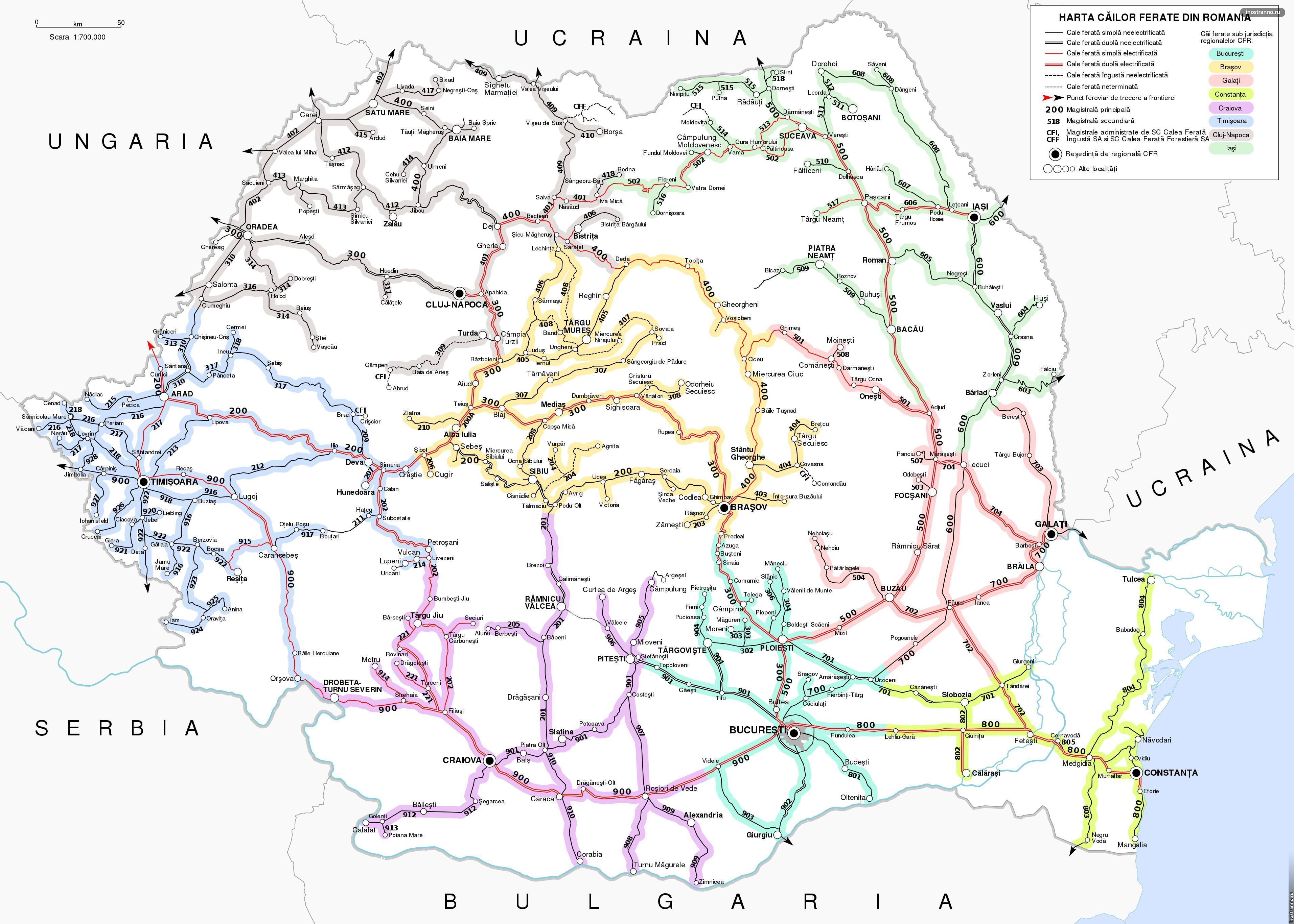 Карта железных дорог Румынии