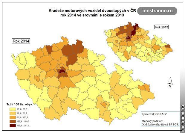 Карта Чехии по автомобильным кражам