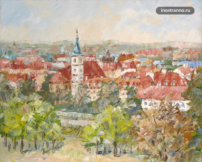Картина, Прага вид с холма Петршин