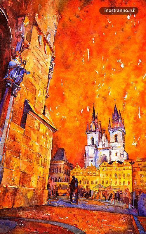 Картина Староместская площадь в Праге