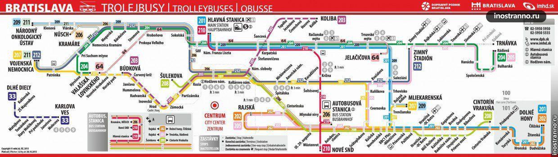 Карта троллейбусов Братиславы