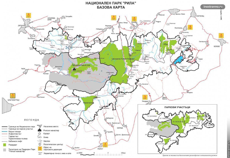 Карта маршрутов по Рильским озерам