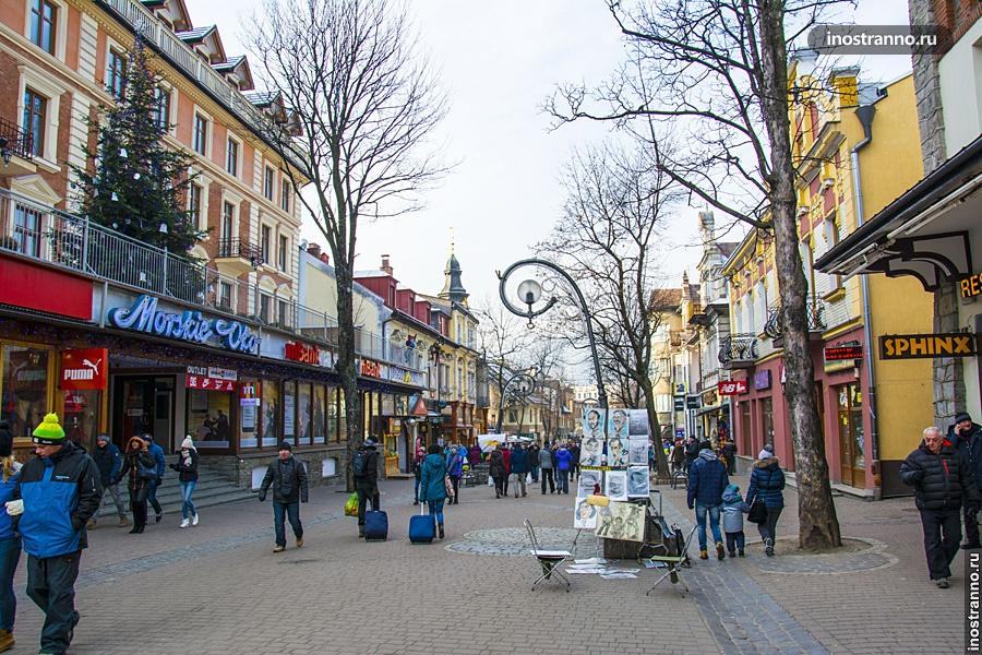 Пешеходная улица в Закопане Круповка