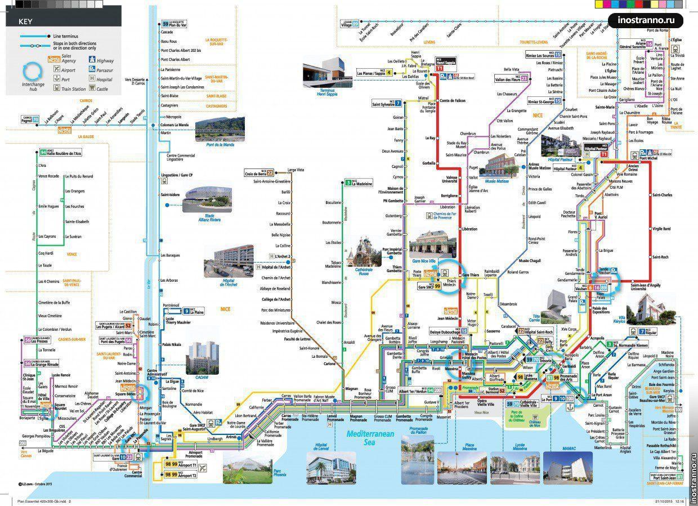 Общественный транспорт Ниццы схема с достопримечательностями