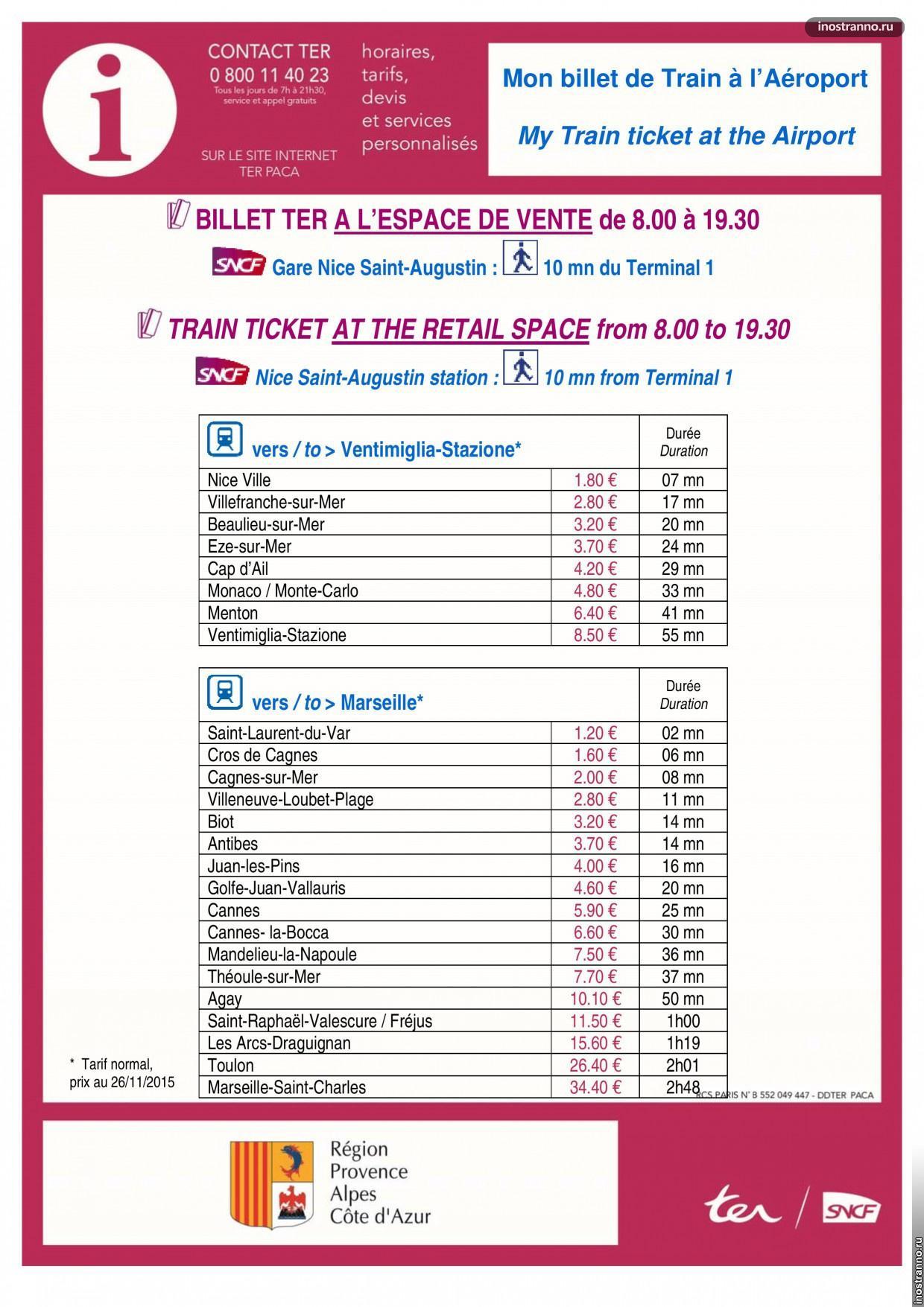 Из аэропорта Ниццы на поезде цены