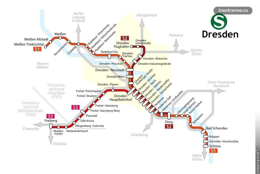 Карта электричек Дрездена