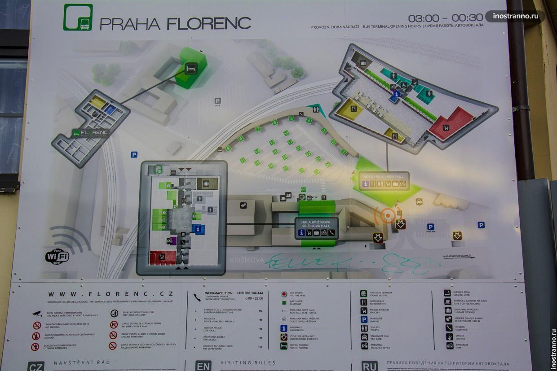 Автовокзал Флоренс в Праге карта