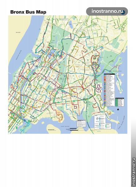 Карта автобусов Нью-Йорка, Бронкс