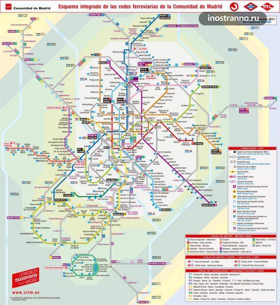 Карта пригородных поездов Мадрида