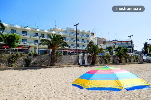 Пляж в Неа Калликратии, Греция, Халкидики