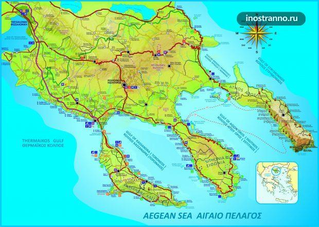 Карта Халкидиков в Греции