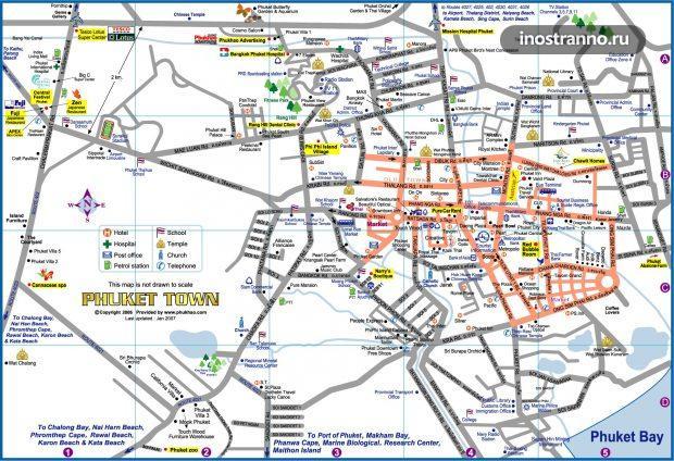 Карта Пхукет-Тауна