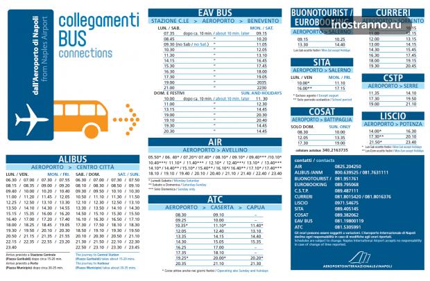 Автобусы из аэропорта Неаполя