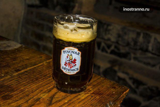 Чешское темное пиво в ресторане Детенице