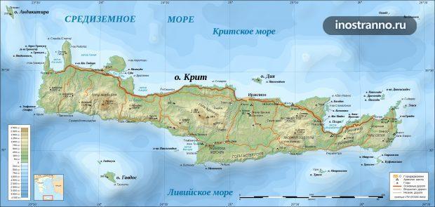 Карта острова Крит на русском языке