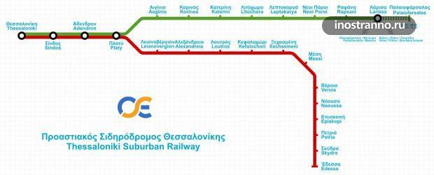 Карта пригородных электричек Салоники