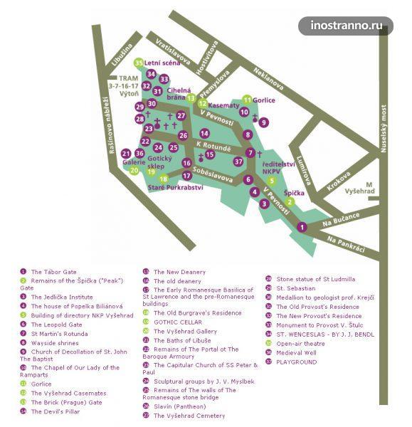 Карта Вышеграда в Праге