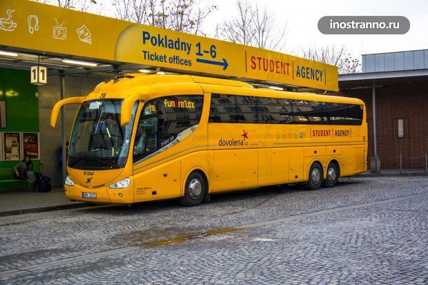 Автобус StudentAgency из аэропорта Праги в Карловы Вары