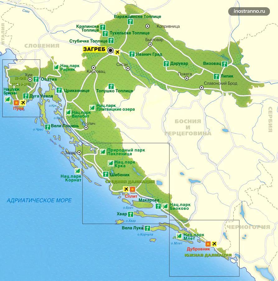 Карта курортов Хорватии на русском языке