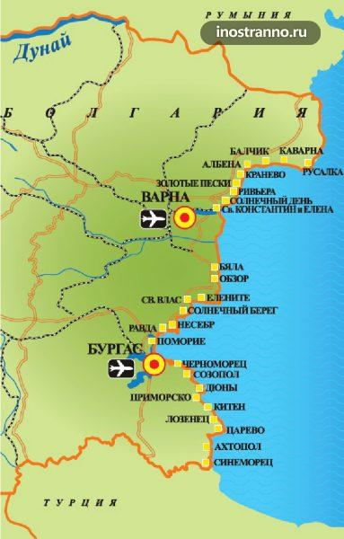 Карта пляжей Болгарии