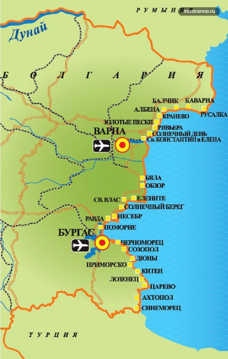 Карта пляжей и курортов Болгарии на русском языке