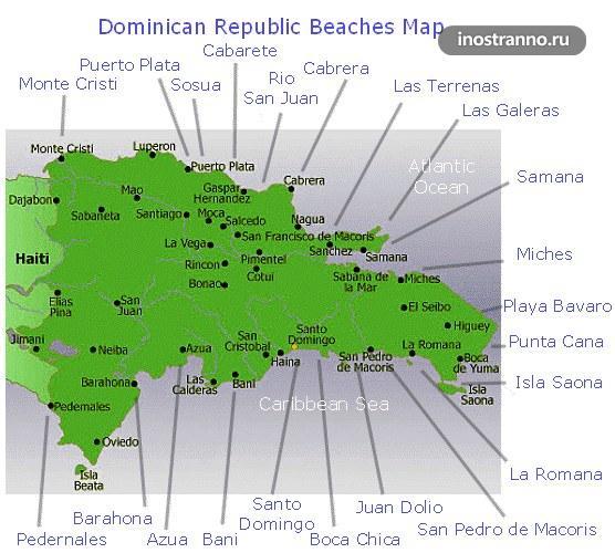 Карта пляжей Доминиканской республики