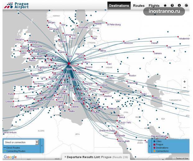 Карта полетов из аэропорта Праги