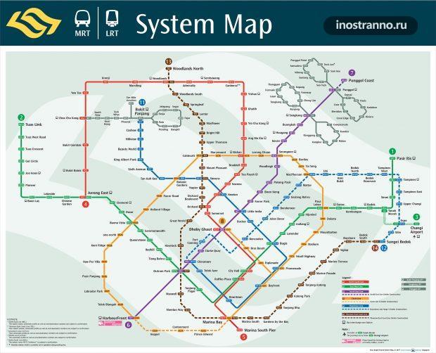 Карта метро Сингапура