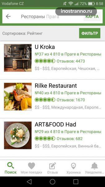 Приложение для телефонов отзывы о ресторанах Tripadvisor