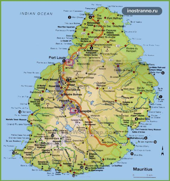 Карта Маврикия с городами и пляжами